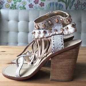Leather Embellished Block Heels